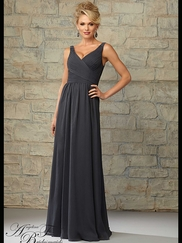V-neck Ruched Floor Length A-line Angelina Faccenda Bridesmaid Dress 20454