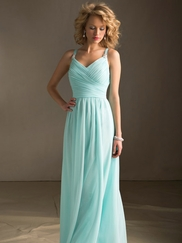 V-neck Ruched Mori Lee Angelina Faccenda Bridesmaid Dress 20412