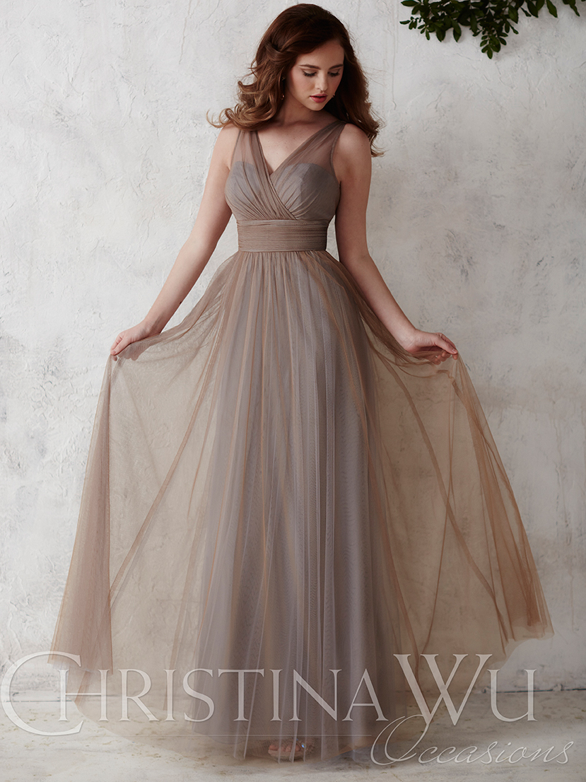 Christina wu bridesmaid dress 22667 dimitradesigns v neck tulle flowing a line christina wu occasions bridesmaid dress 22667 ombrellifo Images
