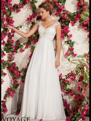 V-neck With Cap Sleeves Flowing A-line Mori Lee Voyage Wedding Dress 6792