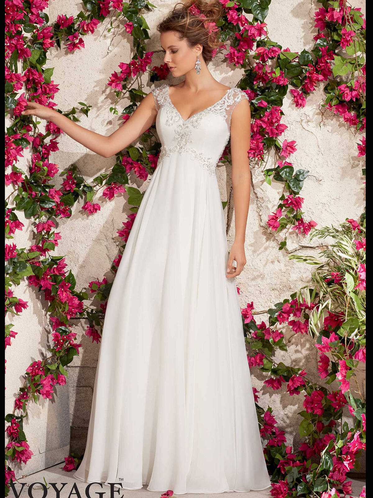 V Neck With Cap Sleeves Flowing A Line Mori Lee Voyage Wedding Dress 6792