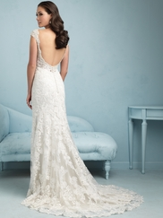 V-neck With Cap Sleeves Lace Floor Length Allure Wedding Dress 9212