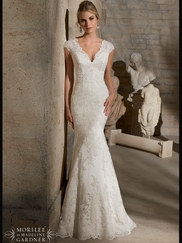 V-neck With Cap Sleeves Laced Floor Length Mori Lee Wedding Dress 2717