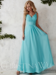 V-neck With Spaghetti Straps Flowing A-line Christina Wu Occasions Bridesmaid Dress 22681