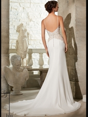 V-neck With Spaghetti Straps Lace Floor Length Mori Lee Blu Wedding Dress 5312