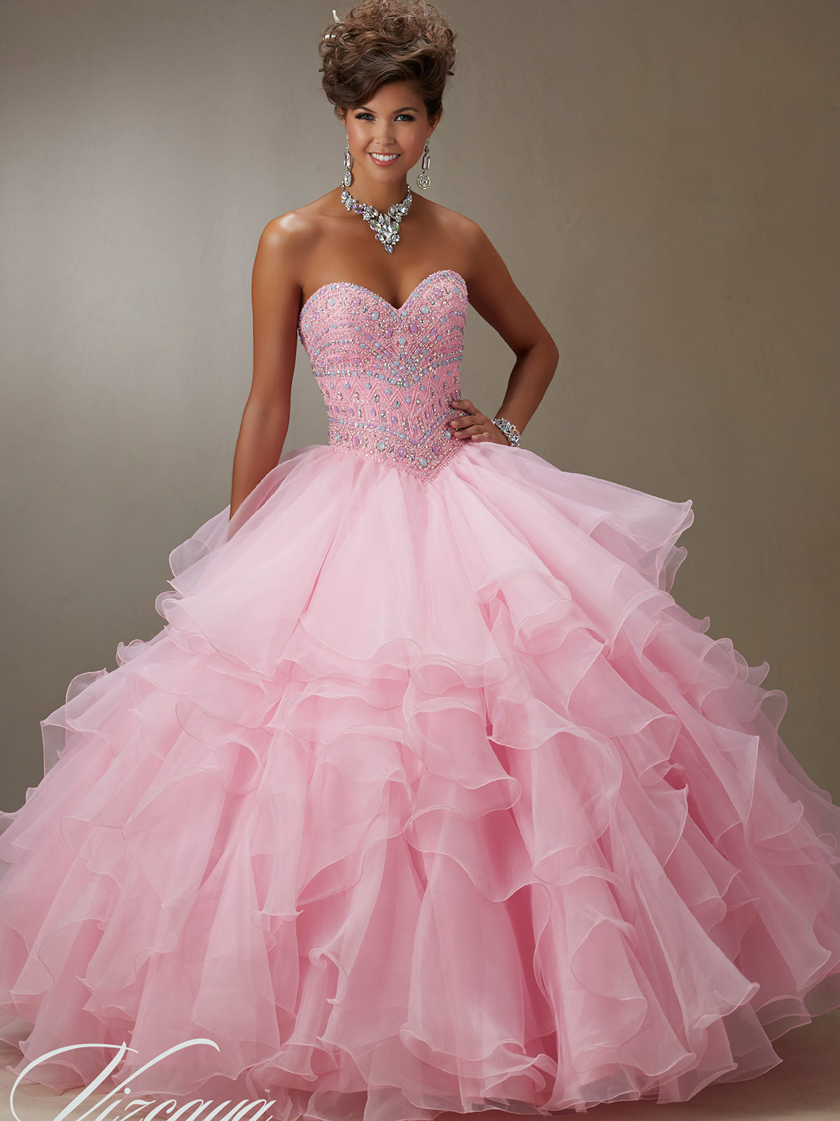 Vizcaya Quinceañera 89061 Beaded Bodice Ball Gown|DimitraDesigns.com