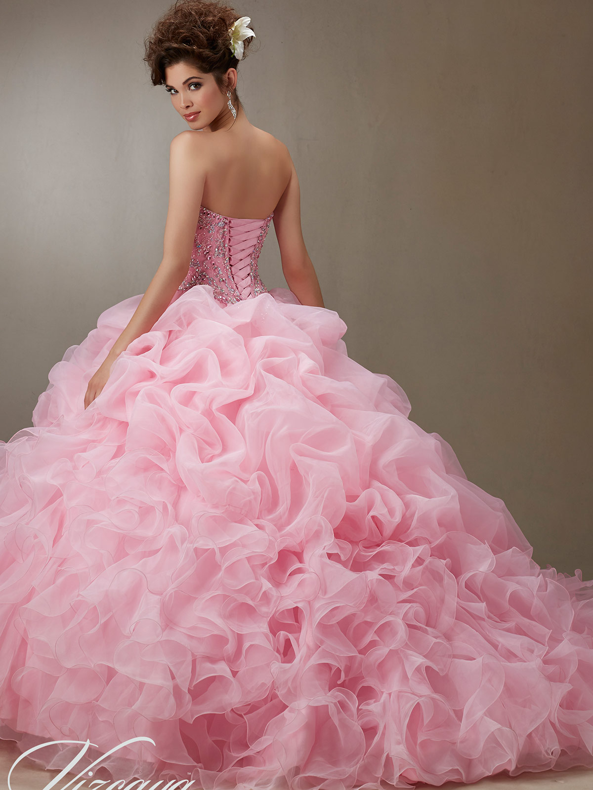 Vizcaya Quinceañera 89075 Ruffled Skirt Ball Gown|DimitraDesigns.com