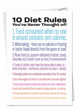 Hysterical Birthday Card From NobleWorksInc.com - 10 Diet Rules