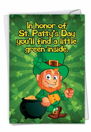 Funny St. Patrick's Day Card From NobleWorksInc.com - A Little Green