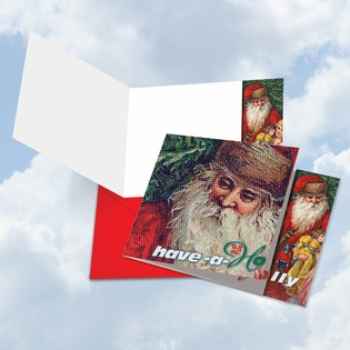Artistic Merry Christmas Square-Top Card From NobleWorksInc.com - Abstract Wishes - Have a Holly