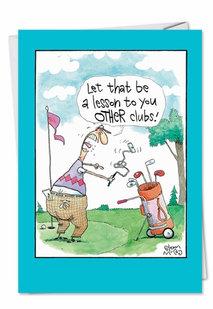 Funny Birthday Father Card From NobleWorksInc.com - Angry Golfer