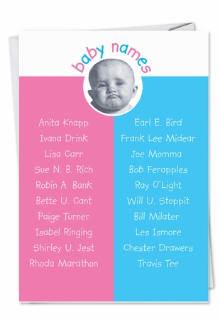 Humorous Congratulations Card From NobleWorksInc.com - Baby Name