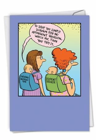 Humorous Baby Card From NobleWorksInc.com - Baby Student Driver