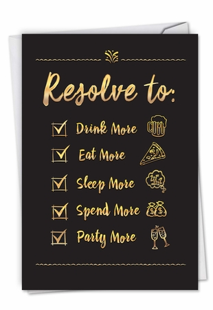 Humorous New Year Card From NobleWorksInc.com - Bad Resolutions