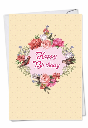 Artistic Birthday Card From NobleWorksInc.com - Birds and Blossoms
