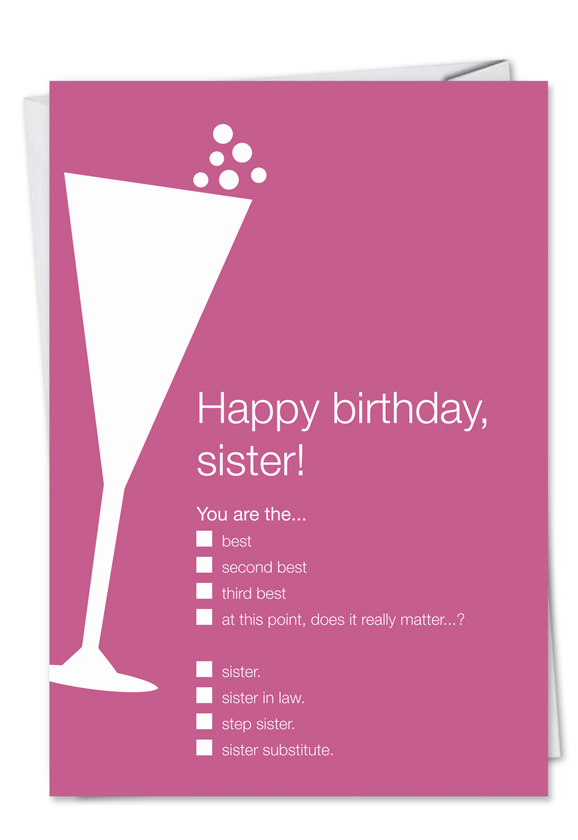 Joke Birthday Sister Card Udecide Products