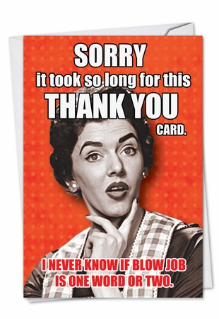 Funny Thank You Card From NobleWorksInc.com - Blow Job