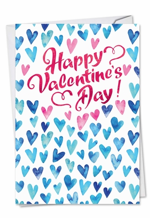 Artistic Valentine's Day Card From NobleWorksInc.com - Blue Hearts