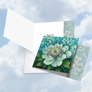 Artistic Thank You Square-Top Card From NobleWorksInc.com - Blue Magnolia