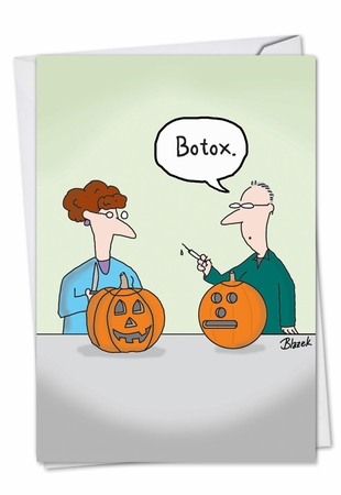 Humorous Halloween Card From NobleWorksInc.com - Botox Pumpkin