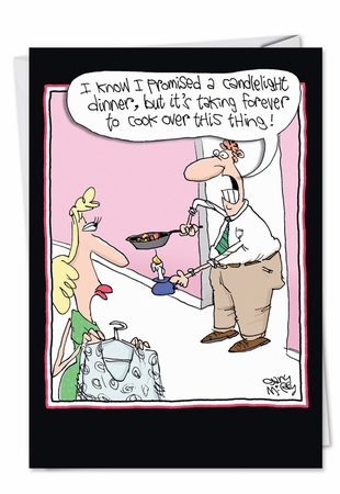 Humorous Valentine's Day Card From NobleWorksInc.com - Candlelight Dinner