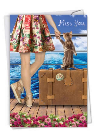 Whimsical Miss You Card From NobleWorksInc.com - Cat and Friend