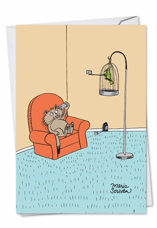 Humorous Birthday Card From NobleWorksInc.com - Cat, Bird, Mouse Selfies