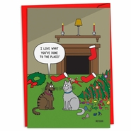 Cat Christmas Decor Funny Christmas Card by NobleWorks and Scott Metzger