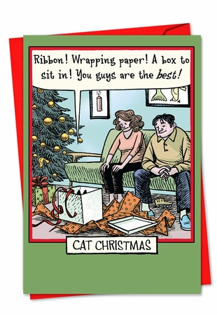 Funny Blank Christmas Card From NobleWorksInc.com - Cat Christmas