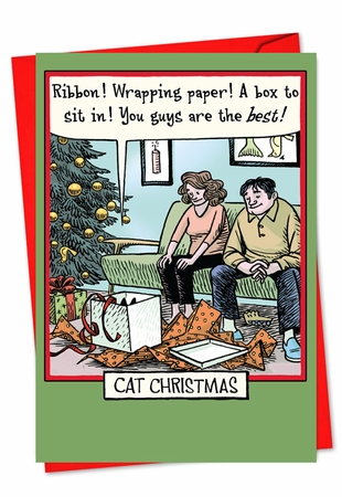 Hysterical Christmas Card From NobleWorksInc.com - Cat Christmas