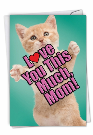 Stylish Birthday Mother Card From NobleWorksInc.com - Cat Love You This Much