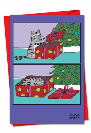 Funny Christmas Card From NobleWorksInc.com - Cat Present