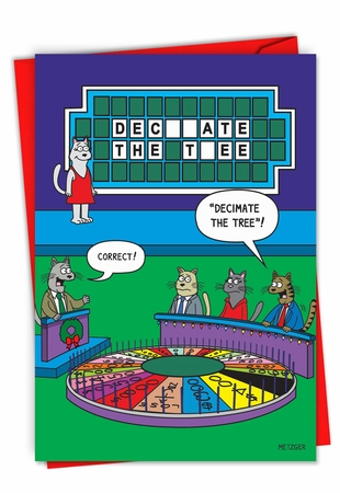 Funny Merry Christmas Card From NobleWorksInc.com - Cat Wheel of Fortune