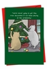Humorous Merry Christmas Card From NobleWorksInc.com - Cats Decorating Tree