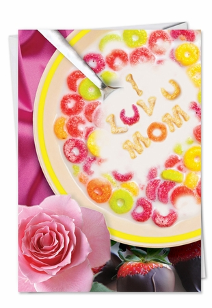 Funny Birthday Mother Card From NobleWorksInc.com - Cereal Spells Love