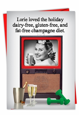 Funny Christmas Card From NobleWorksInc.com - Champagne Diet