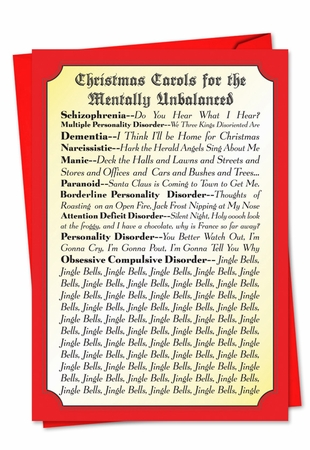 Humorous Blank Christmas Card From NobleWorksInc.com - Christmas Carols For Everyone
