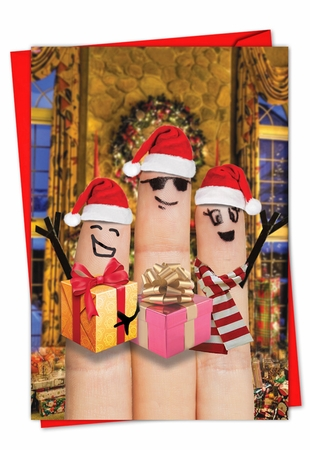 Artistic Merry Christmas Card From NobleWorksInc.com - Fingers Carolers