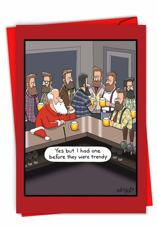 Humorous Merry Christmas Card From NobleWorksInc.com - Christmas Hipsters