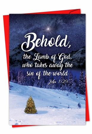 Beautiful Merry Christmas Card From NobleWorksInc.com - Christmas Quotes John 1:29