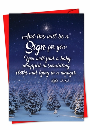 Artful Merry Christmas Card From NobleWorksInc.com - Christmas Quotes Luke 2:12