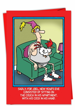 Hilarious New Year Card From NobleWorksInc.com - Cock in Hand