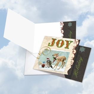 Beautiful Blank Merry Christmas Square-Top Card From NobleWorksInc.com - Deer and Cheer - Joy