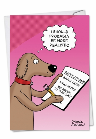Funny New Year Card From NobleWorksInc.com - Dog Resolutions