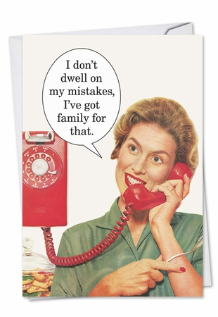 Humorous Birthday Card From NobleWorksInc.com - Don't Dwell On Mistakes