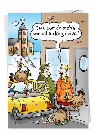 Humorous Thanksgiving Card From NobleWorksInc.com - Drunk Turkey Drive