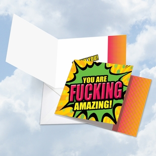 Humorous Thank You Square-Top Card From NobleWorksInc.com - F-king Amazing