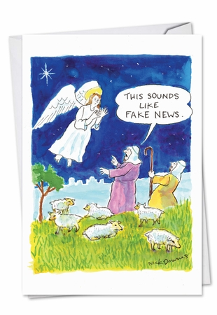 Funny Christmas Card From NobleWorksInc.com - Fake News Angel