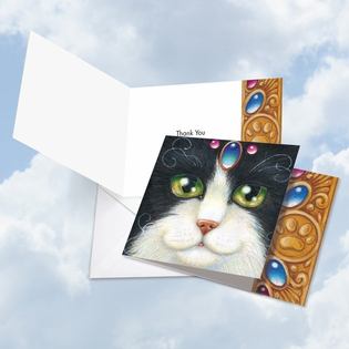 Artful Thank You Square-Top Card From NobleWorksInc.com - Fancy Felines Blue Tuxie