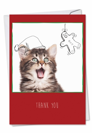 Artful Blank Christmas Thank You Card From NobleWorksInc.com - Feline Graffiti